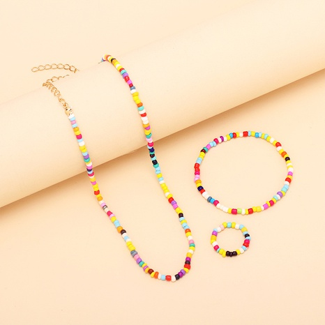 nihaojewelry bohemian ethnic style rice bead necklace bracelet ring set wholesale jewelry NHRN378395's discount tags