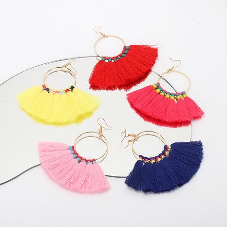 nihaojewelry bohemian geometric big circle tassel earrings wholesale jewelry  NHRN378396's discount tags