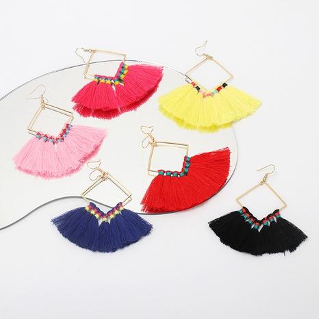 Nihaojewelry Bohemian Geometric Square Tassel Earrings Wholesale Jewelry NHRN378401's discount tags