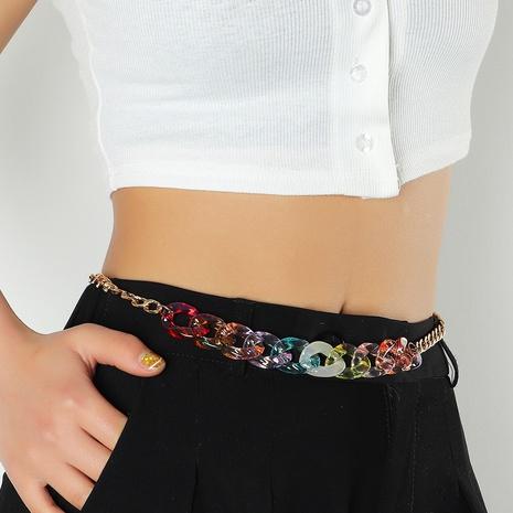 wholesale jewelry geometric candy color acrylic waist chain Nihaojewelry NHAU378420's discount tags