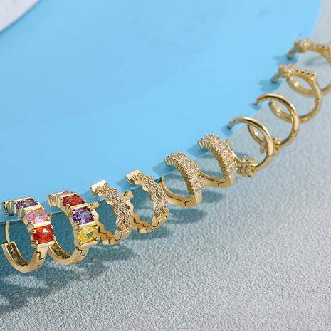 Nihaojewelry joyas al por mayor pendientes de diamantes de color geométrico de aleación en forma de C simple NHLL378489's discount tags