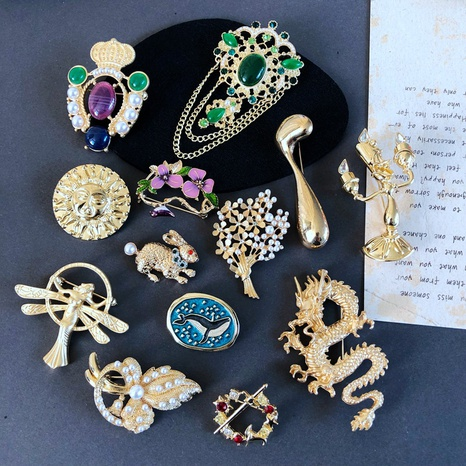 nihaojewelry fashion gems flowers animals marine life drip glaze angel brooch wholesale jewelry NHOM378511's discount tags