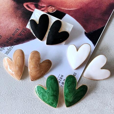 nihaojewelry simple multicolor goteo esmalte pendientes de botón en forma de corazón joyería al por mayor NHOM378512's discount tags