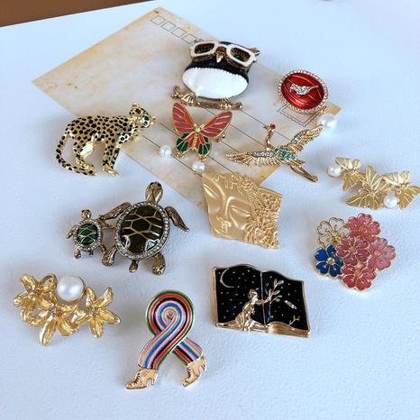 nihaojewelry retro plants flowers animals drip-glazed brooch wholesale jewelry NHOM378521's discount tags