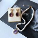 nihaojewelry retro cultured pearl drop opal pendant necklace earrings wholesale jewelry NHOM378528