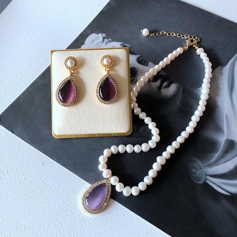 Nihaojewelry rétro perles de culture goutte opale pendentif collier boucles d'oreilles bijoux en gros NHOM378528's discount tags