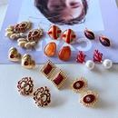 nihaojewelry simple pearl red drip glaze resin enamel earrings wholesale jewelry NHOM378539