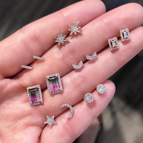 Nihaojewelry simple coeur étoile lune croix carré zircon boucles d'oreilles 7 paires ensemble de bijoux en gros NHMO378545's discount tags