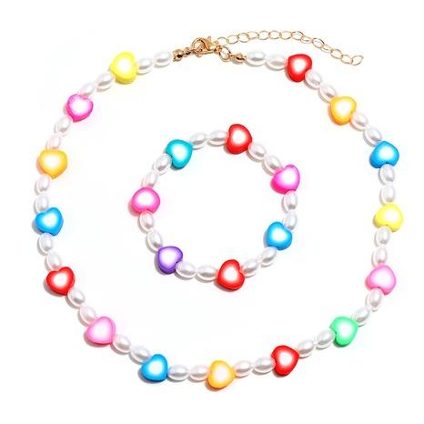 Nihaojewelry Bohemian Color Heart Beaded Collar Pulsera Set Joyería al por mayor NHMO378571's discount tags