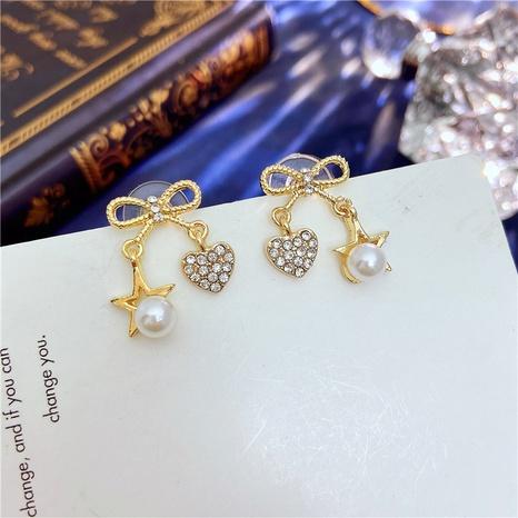 Pendientes del perno prisionero del arco del corazón de cinco estrellas de la perla al por mayor de la joyería de Nihaojewelry NHVA378595's discount tags