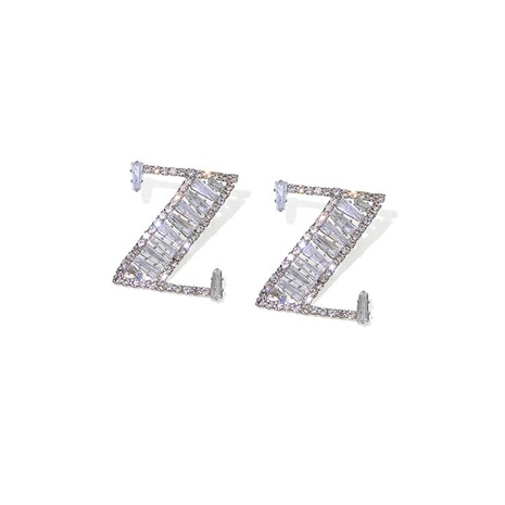 Nihaojewelry joyas al por mayor pendientes con forma de letra Z de diamantes NHVA378596's discount tags
