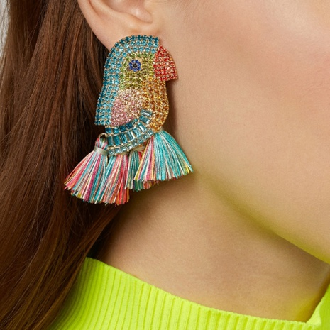 Nihaojewelry Jewelry Wholesale Creative Color Diamond Bird Tassel Earrings  NHMD378829's discount tags