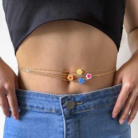 Nihaojewelry cadena de cintura de flor de cerámica suave de una sola capa de metal simple joyería al por mayor NHXR378831's discount tags