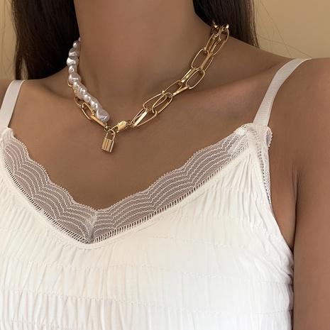 nihaojewelry fashion padlock pendant pearl stitching multi-layer necklace wholesale jewelry NHXR378833's discount tags