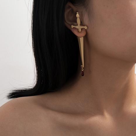 Nihaojewelry mode longue épée poignée rouge goutte d'eau croix boucles d'oreilles bijoux en gros NHXR378844's discount tags
