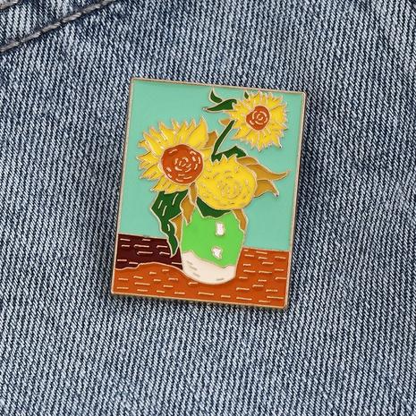 Nihaojewelry Simple Bande Dessinée Van Gogh Peinture À L'huile Gouttes De Tournesol Broche Bijoux En Gros NHNZ378858's discount tags