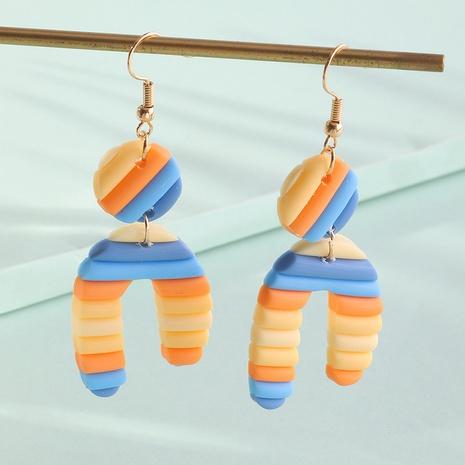 Nihaojewelry jewelry wholesale printed striped U-shaped acrylic earrings NHNZ378862's discount tags