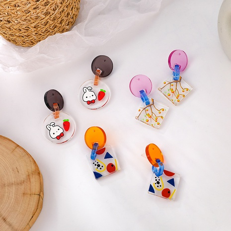 Wholesale Jewelry Fashion Color Transparent Acrylic Animal Fruit Earrings Nihaojewelry NHMS378872's discount tags