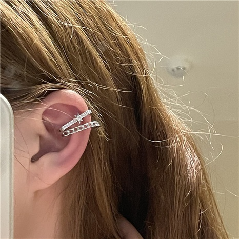 Vente en gros bijoux étoile creuse micro incrusté clip os d'oreille Nihaojewelry NHYQ378883's discount tags
