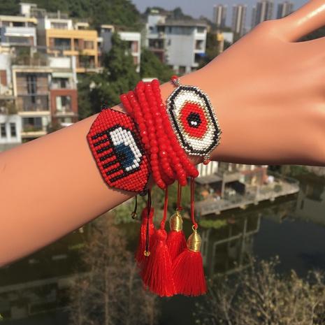 Nihaojewelry ethnic style demon eye Miyuki beads hand-woven set bracelet Wholesale jewelry NHGW378910's discount tags