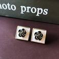 NHOM1751854-Square-black-rose-silver-needle-earrings-1.7CM
