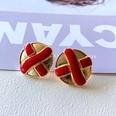 NHOM1751884-Red-Cross-Silver-Needle-Stud-Earrings-2.5CM
