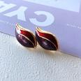 NHOM1751885-Red-drip-glaze-leaf-silver-needle-earrings-2.51.