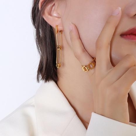 Nihaojewelry bijoux en gros trombone boule ronde boule en acier titane boucles d'oreilles en acier NHOK378609's discount tags