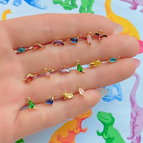 Pendientes de botón de la serie de dinosaurios pequeños al por mayor joyas que preservan el color de oro de 18 quilates pendientes de animales de la selva tropical NHUW379092's discount tags