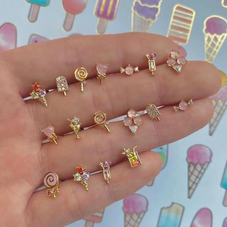 Boucles d'oreilles en gros de crème glacée de sucette d'été Boucles d'oreilles en or 18 carats préservant la couleur nihaojewelry NHUW379093's discount tags