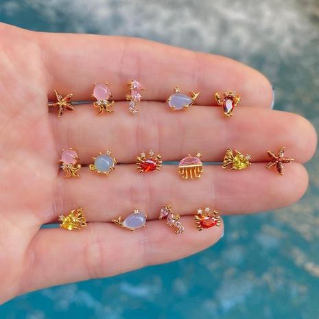 Boucles d'oreilles série marine en gros Nihaojewelry bijoux pour petits animaux des fonds marins couleur plaqué or boucles d'oreilles en zircon mignon NHUW379095's discount tags