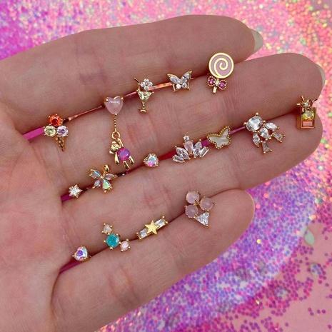 Boucles d'oreilles en zirconium couleur crème glacée dorée en gros Nihaojewelry NHUW379096's discount tags