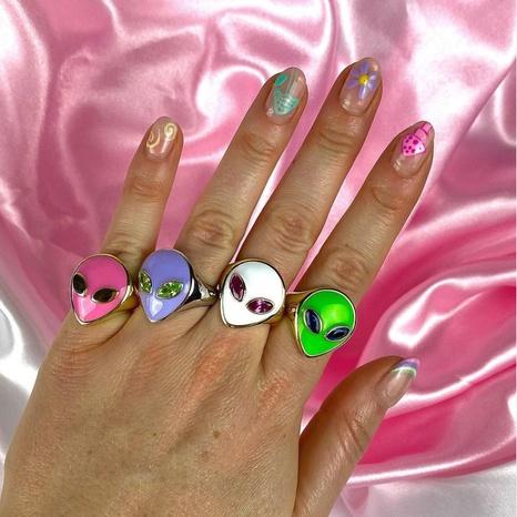 Bague tête extraterrestre en gros en or 18 carats préservant la couleur des bijoux bague fille mignonne NHUW379098's discount tags