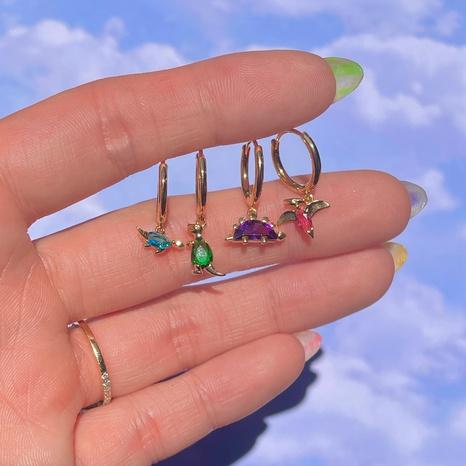 Boucle d'oreille dinosaure en gros animaux tropicaux boucle d'oreille en zircon de couleur Nihaojewelry NHUW379100's discount tags