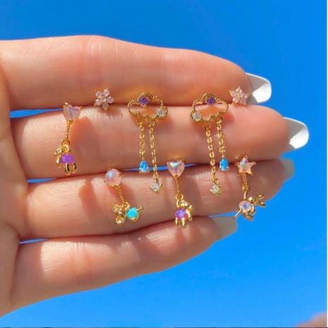 Boucles d'oreilles Kolamic en gros bijoux en or 18 carats boucles d'oreilles nuage ours mignon Nihaojewelry NHUW379102's discount tags