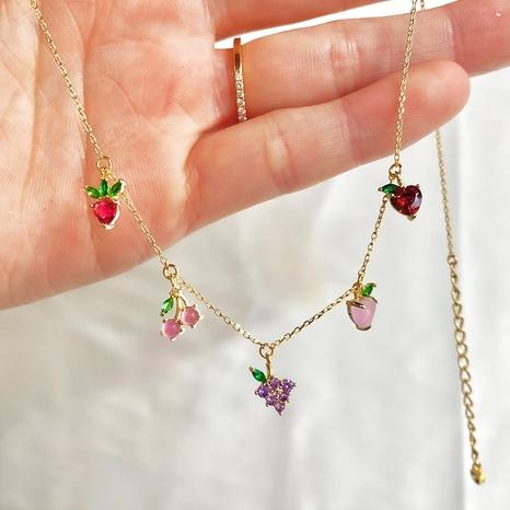 color zirconium cherry peach tropical fruit clavicle chain necklace wholesale NHUW379103's discount tags
