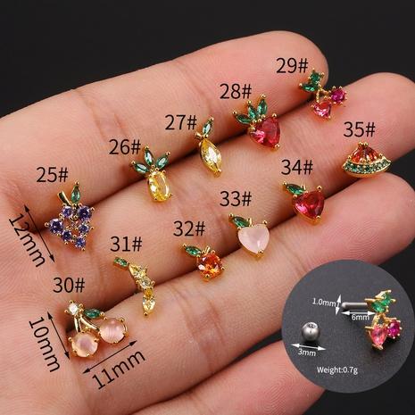Wholesale jewelry fruit earring screw fruit earrings trendy ear bone stud single Nhaojewelry NHUW379104's discount tags