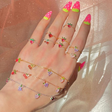 Wholesale jewelry color zirconium cherry peach tropical fruit bracelet Nihaojewelry NHUW379105's discount tags