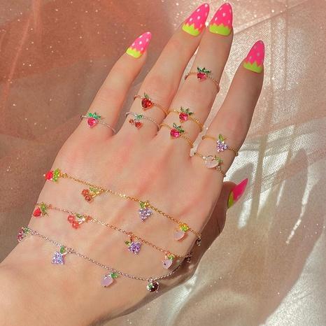 Bijoux en gros couleur zirconium cerise pêche bracelet de fruits tropicaux Nihaojewelry NHUW379105's discount tags
