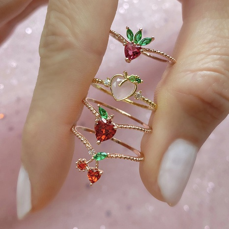 Wholesale jewelry color zirconium cherry peach tropical fruit rings NHUW379106's discount tags