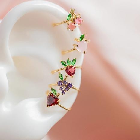 Wholesale color zirconium cherry peach tropical fruit ear bone clip women NHUW379107's discount tags