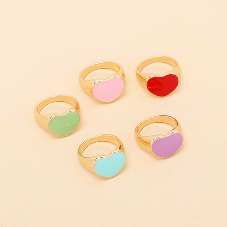wholesale jewelry dripping oil heart ring Nihaojewelry NHRN379149's discount tags