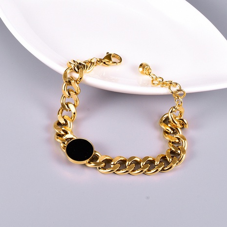 Nihaojewelry Titanium Steel Black Rubber Round Button Short Bracelet Wholesale Jewelry NHAB379158's discount tags