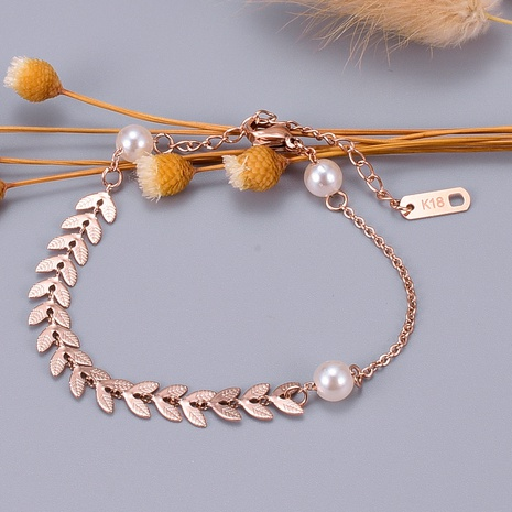Wholesale Jewelry Titanium Steel Wheat Ear Pearl Bracelet Wholesale Jewelry NHAB379161's discount tags