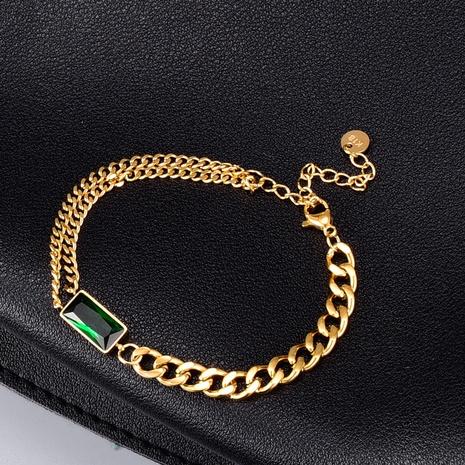 Pulsera de circonita verde de oro de 18 quilates de acero de titanio de Nihaojewelry NHAB379163's discount tags