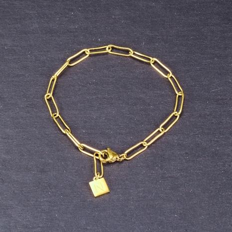 Nihaojewelry cadena simple letra cuadrada marca pulsera de acero de titanio joyería al por mayor NHAB379167's discount tags
