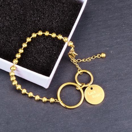 Joyería al por mayor Inglés Anillo Redondo Bead Pulsera de acero de titanio Nihaojewelry NHAB379172's discount tags