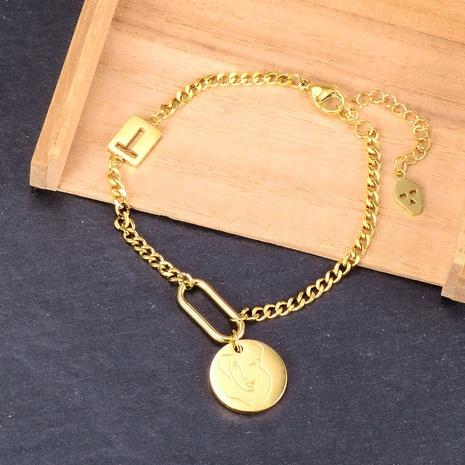 Nihaojewelry, pulsera de acero de titanio con esqueleto en forma de T de cuentas redondas con cara abstracta, joyería al por mayor NHAB379173's discount tags