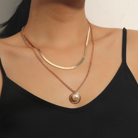 Nihaojewelry fashion multi-layer pearl circle pendant necklace Wholesale Jewelry NHKQ379211's discount tags