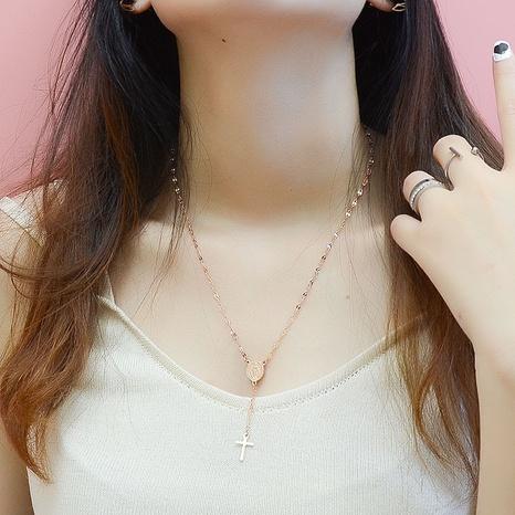 Nihaojewelry Jewelry Wholesale Collar colgante cruzado Collar de acero de titanio NHOK379258's discount tags
